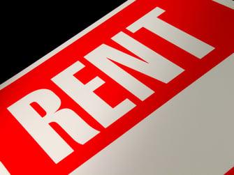 close up of a rent sign