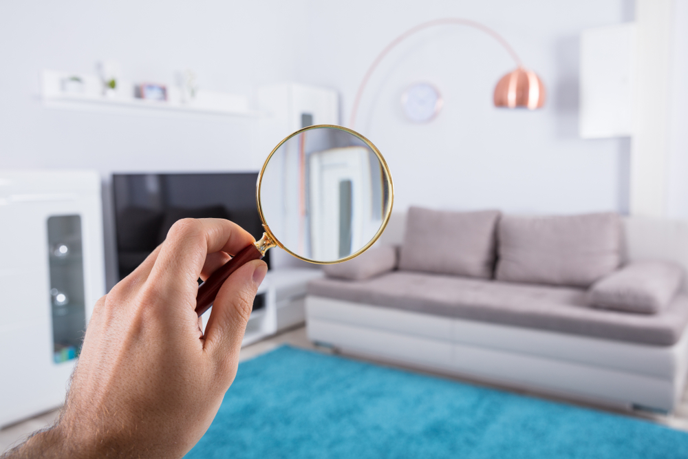 home property inspection concept with person holding magnifying glass at home