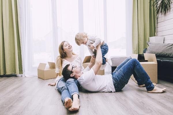 young family together in new home